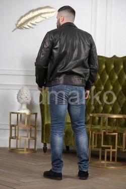 Мужская кожаная куртка на резинке с воротником