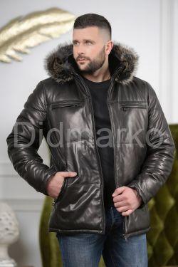 Кожаный пуховик с капюшоном для мужчин
