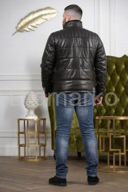 Короткий кожаный пуховик для мужчин