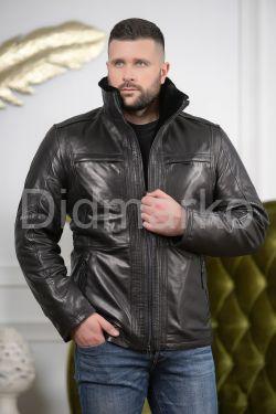 Мужской кожаный пуховик черного цвета 2019