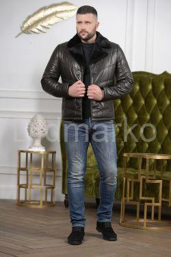 Кожаный короткий пуховик для мужчин