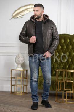 Мужская кожаная дубленка с капюшоном