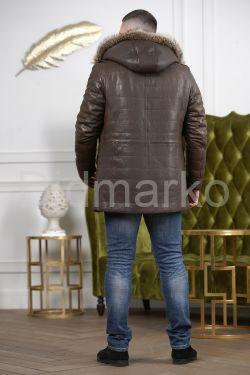 Удлиненная мужская кожаная дубленка цвета хаки