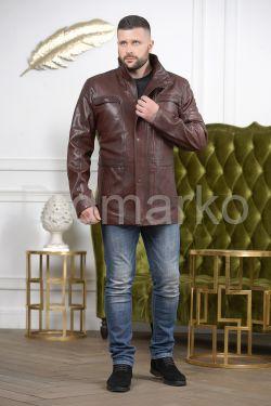 Стильная мужская кожаная куртка удлиненная
