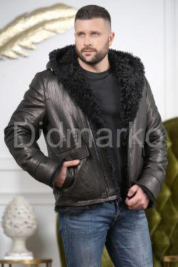 Мужская дубленка с капюшоном с мехом барашка