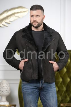 Мужская дубленка из замша черного цвета