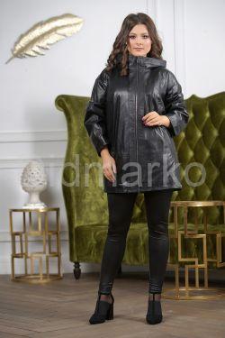 Женская кожаная куртка больших размеров с капюшоном