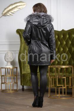 Удлиненная кожаная куртка больших размеров на кулиске