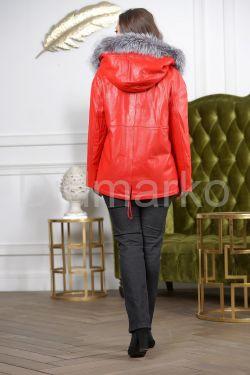 Утепленная кожаная куртка больших размеров кораллового цвета