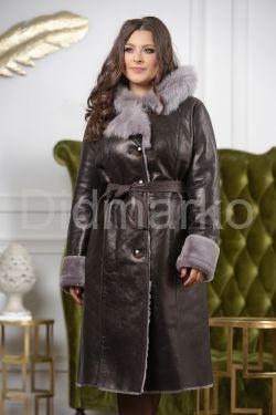 Зимнее пальто из овчины с капюшоном