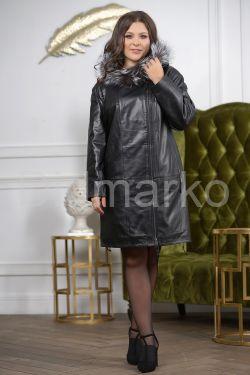 :Женская кожаная куртка с мехом чернобурки удлиненная