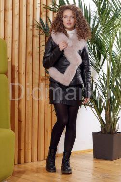 Женская кожаная куртка с мехом - автоледи