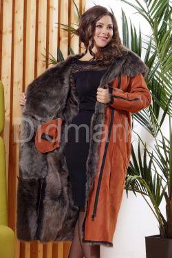 Зимняя женская дубленка терракотового цвета - 2019-2020
