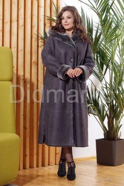 Длинная женская дубленка серого цвета больших размеров