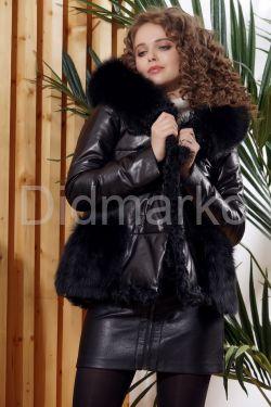 Короткий черный кожаный пуховик со съемными карманами
