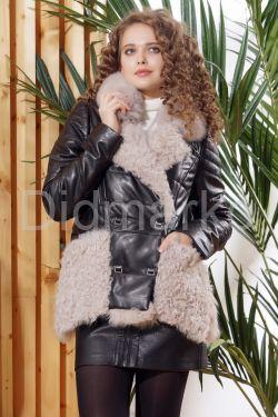 Теплая кожаная куртка автоледи