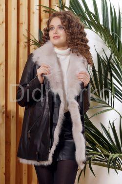 Молодежная зимняя кожаная куртка Хит 2021-2022