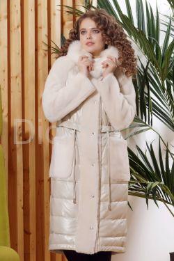 Зимнее комбинированное кожаное пальто