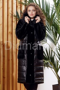 Зимнее кожаное пальто с мехом овчины