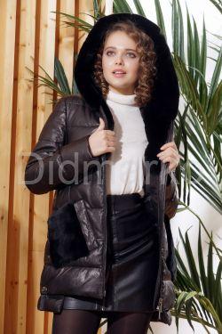 Зимняя кожаная куртка с меховыми карманами