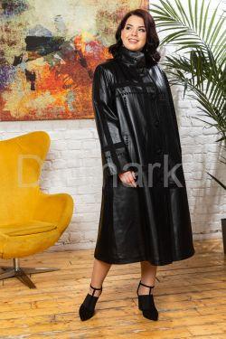 Классическое трапециевидное кожаное пальто больших размеров BERFIN120