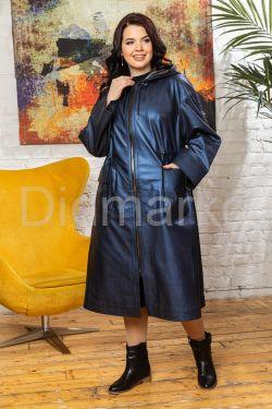 Женский кожаный плащ с накладными карманами