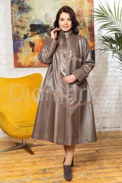 Комбинированный кожаный плащ больших размеров