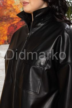 ХИТ Кожаный плащ черного цвета