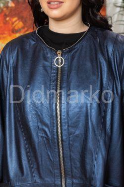 Женский кожаный плащ больших размеров со съемным капюшоном