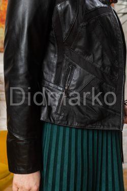 Комбинированная кожаная куртка женская