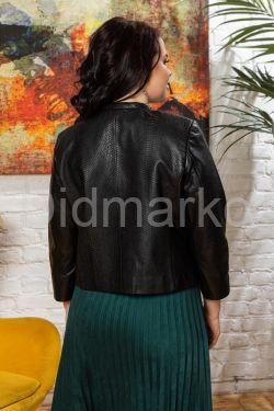 Короткая кожаная куртка под кроку