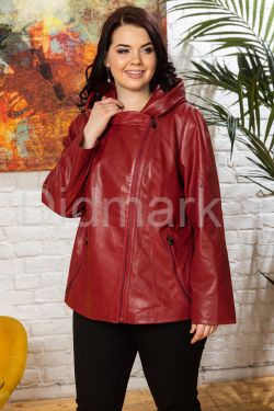 Кожаная куртка с капюшоном Весна 2020
