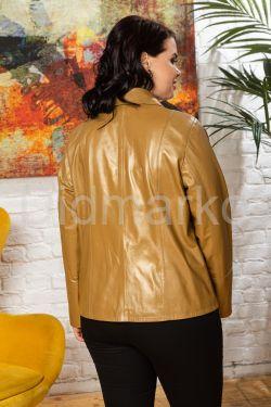 Весенний кожаный женский пиджак на пуговицах