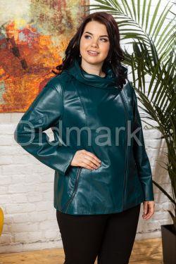 Женская кожаная куртка цвета морской волны