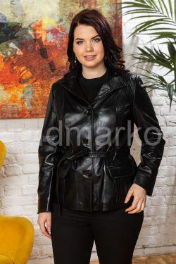 Классический кожаный пиджак на пуговицах