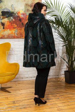 Трапециевидная куртка из замши с принтом