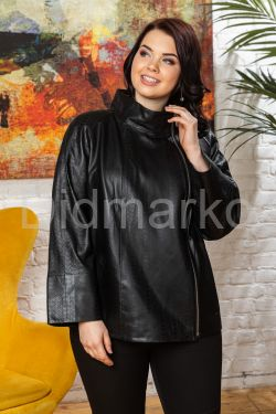 Кожаная куртка с перфорированными вставками черного цвета BURCU