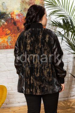Нарядная кожаная куртка с принтом