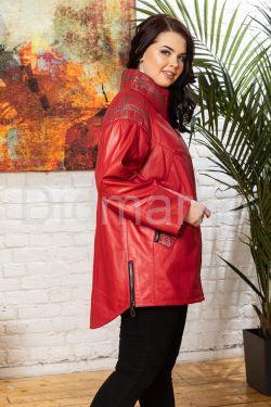 Стильная удлиненная кожаная куртка