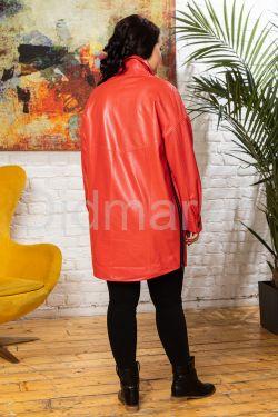 Удлиненная кожаная куртка с молниями по бокам