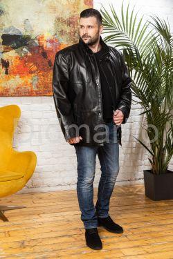 Удлиненная мужская кожаная куртка больших размеров