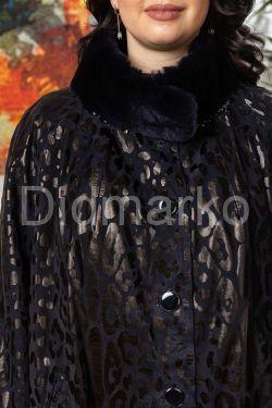 Женское пальто из замши с принтом  леопарда