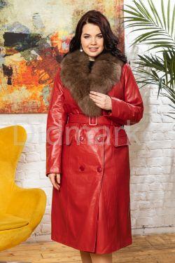 Утепленное двубортное кожаное пальто