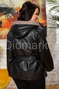 Женская кожаная куртка с капюшоном с трикотажной отделкой