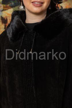 Классическое замшевое пальто с капюшоном