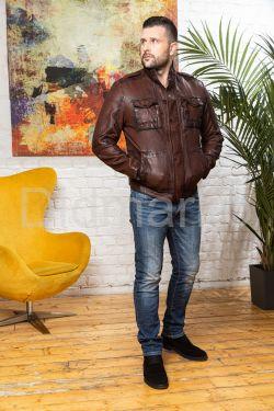 Мужская кожаная куртка цвета виски 2021