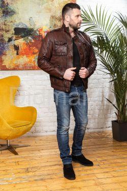 Мужская кожаная куртка цвета виски 2020