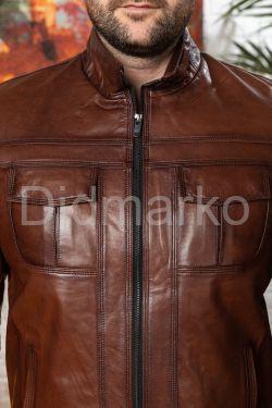 Мужская кожаная куртка на молнии Весна 2020