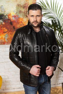 Мужская кожаная куртка с планкой
