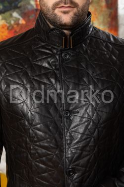 Стеганая кожаная мужская куртка